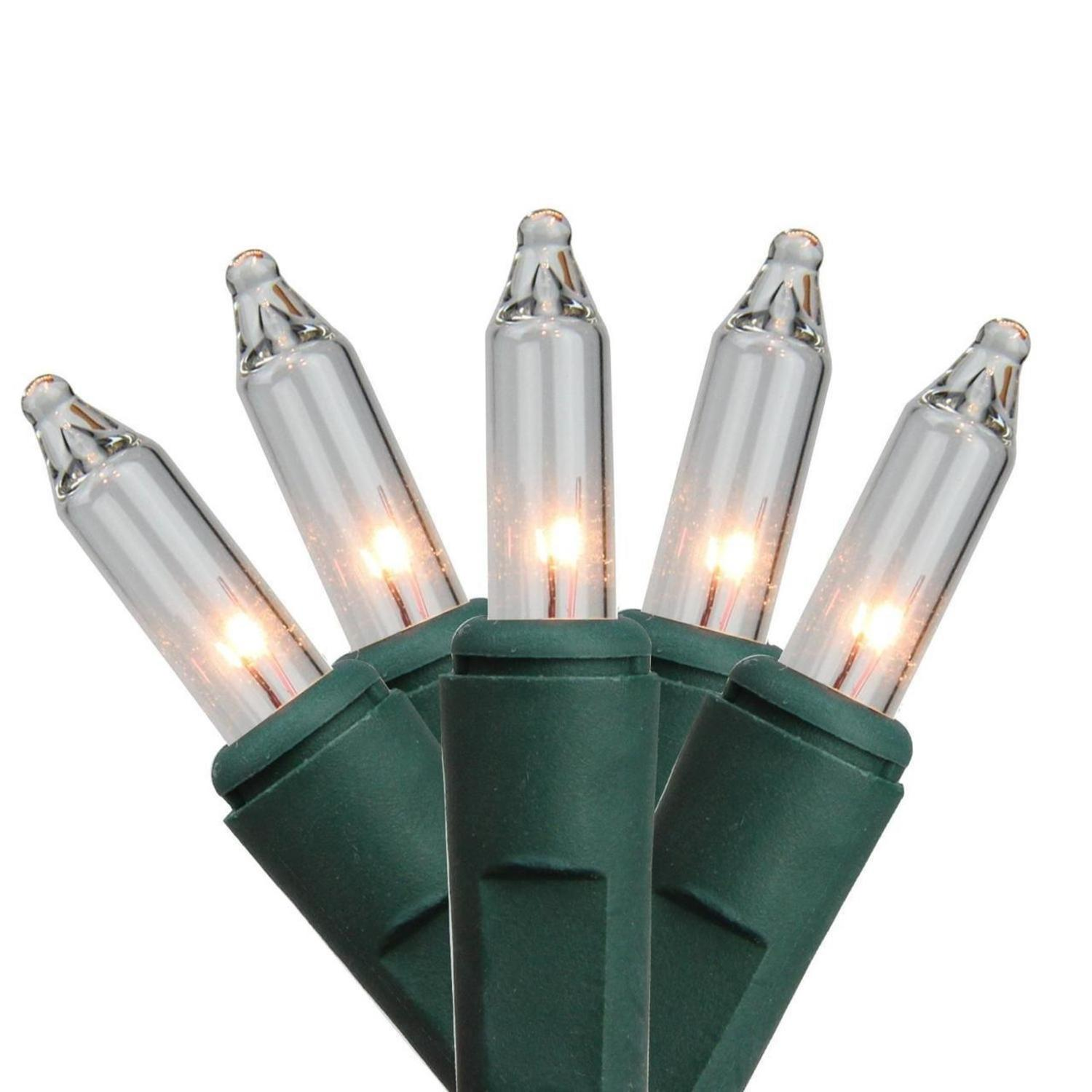 50 Battery Operated Everglow Clear Mini Christmas Lights – 6.7 ft Green Wire