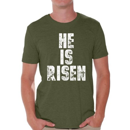 Awkward Styles He Is Risen Shirt for Men Christian Shirts for Men Happy Easter Gifts for Him Easter Christian Outfits Jesus T Shirt Bible Verse Matthew 28:6 Men's Easter Tshirt (Wholesale Christian T-shirts)