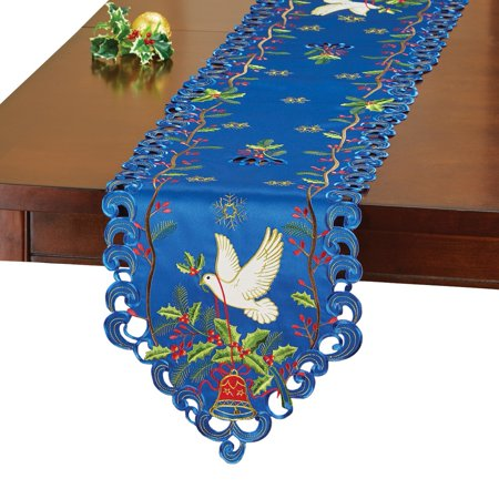 Christmas Dove Inspirational Table Linens, - Christmas Table Runners