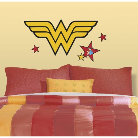 Roommates classic dc wonder woman logo peel and stick for 8 sheet giant wall mural