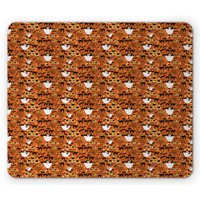 Halloween Mouse Pad, Spooky Cartoon Pattern of Ghost Cats Bats Spiders and Trees, Rectangle Non-Slip Rubber Mousepad, Burnt Orange Multicolor, by Ambesonne
