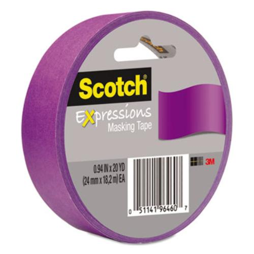 "Scotch Expressions Masking Tape - 0.94"" Width X 60 Ft Length - Writable Surface, Easy Tear - 1 Roll - Purple (3437pur)"