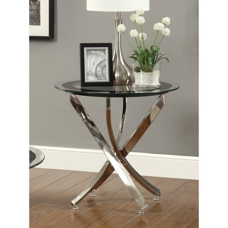 Coaster Furniture Round Glass Top End Table - Chrome