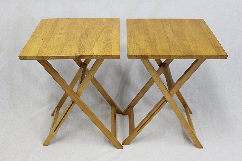 tv tray set. EHemco Ez Folding TV Tray Table Square Top - Hard Wood In Pecan Set Of 2 Tv L