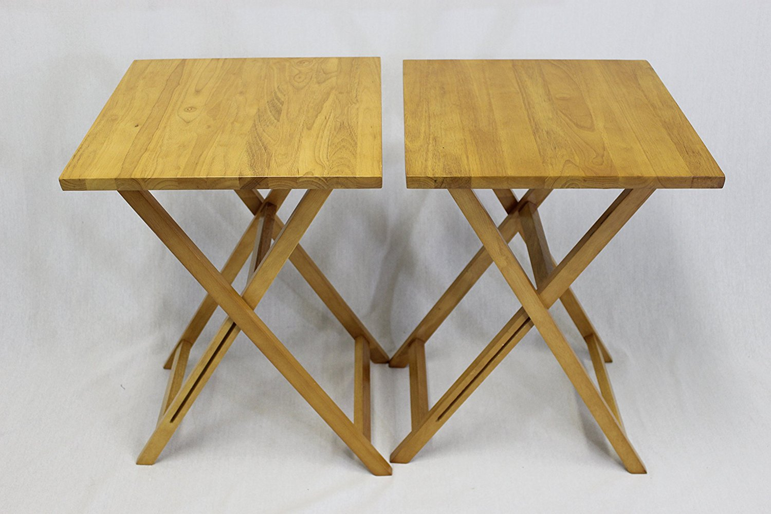 Merveilleux EHemco Ez Folding TV Tray Table Square Top   Hard Wood In Pecan Set Of 2