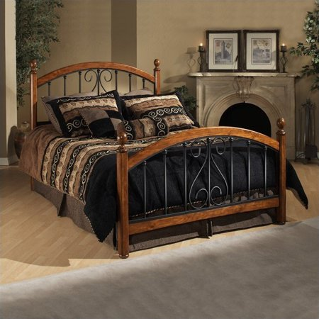 Hillsdale Burton Way Wood and Metal Poster Bed in Cherry and Black (100 Wood Cherry)