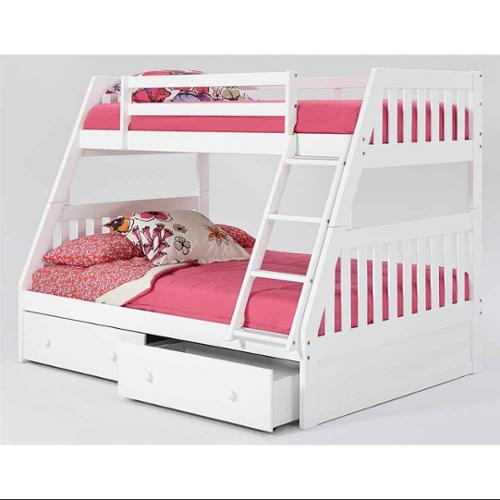 Chelsea Home Furniture 36TF750-S Twin Over Full Mission Bunk Bed with Under Bed Storage & Ladder