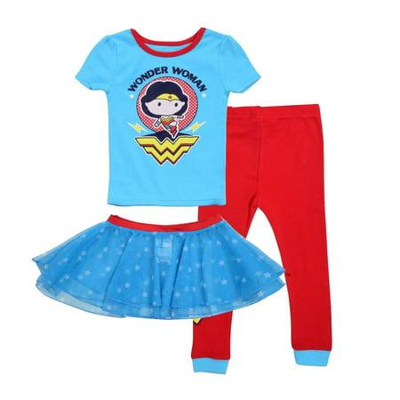 Justice League Toddler Girls' Wonder Woman 2 Piece Cotton Set with Tutu - Wonder Woman With Tutu