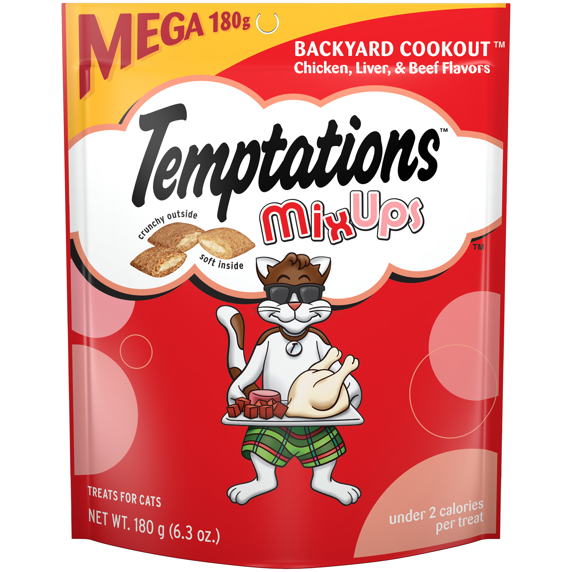 TEMPTATIONS MixUps Cat Treats BACKYARD COOKOUT Flavor, 6.3 oz. Pouch