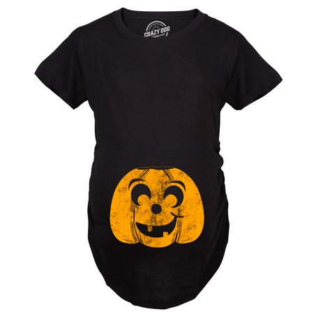 Maternity Halloween Eyebrow Pumpkin Pregnancy Tshirt Funny JackOLantern Tee For Mom To Be