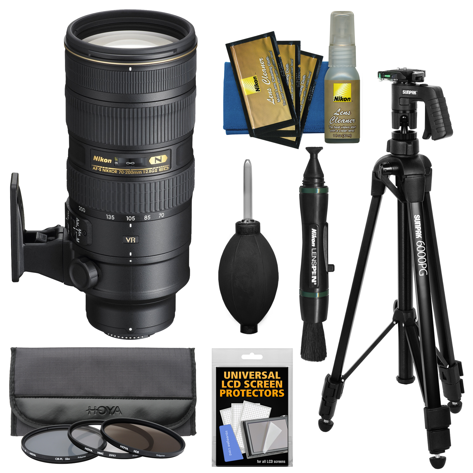 Nikon 70-200mm f/2.8G VR II AF-S ED-IF Zoom-Nikkor Lens + Hoya 3 Filters + Tripod Kit for D3200, D3300, D5300, D5500, D7100, D7200, D750, D810 Cameras
