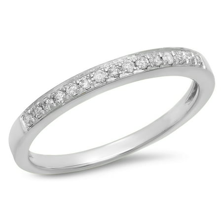 Dazzlingrock Collection 0.15 Carat (Ctw) 10k White Diamond Ladies Anniversary Wedding Band Stackable Ring, White Gold, Size 4.5