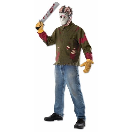 Friday The 13th Jason Mask & Shirt Costume Kit Adult One Size Fits - Friday The 13 Vs Halloween