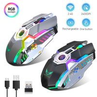 EEEkit Gaming Mouse Wireless w/ 5 RGB Backlit, 2400DPI Adjustable Rechargeable Mice Comfortable Grip Ergonomic Optical PC Computer Gaming Mouse with USB Receiver for PC Computer Laptop Gaming Players