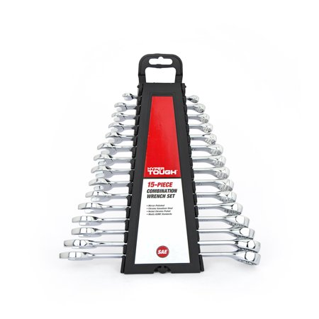 Hyper Tough 15-Piece Combination Wrench Set SAE