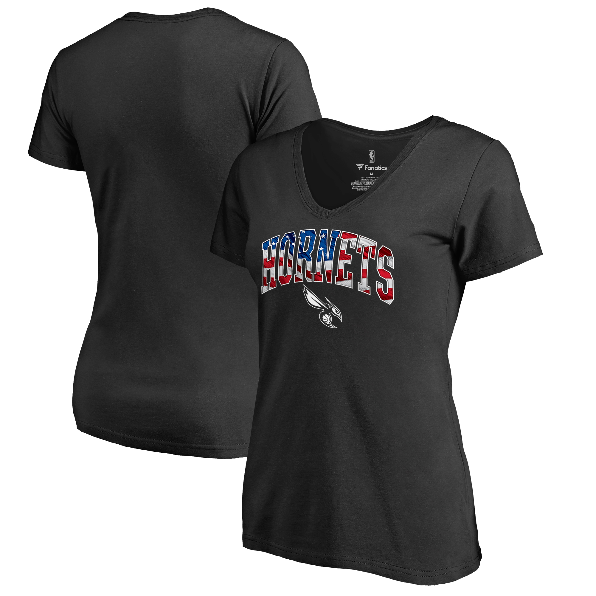 Charlotte Hornets Women's Banner Wave T-Shirt - Black
