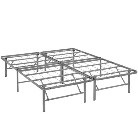 Modern Contemporary Urban Design Bedroom Full Size Platform Bed Frame, Silver, Metal Steel