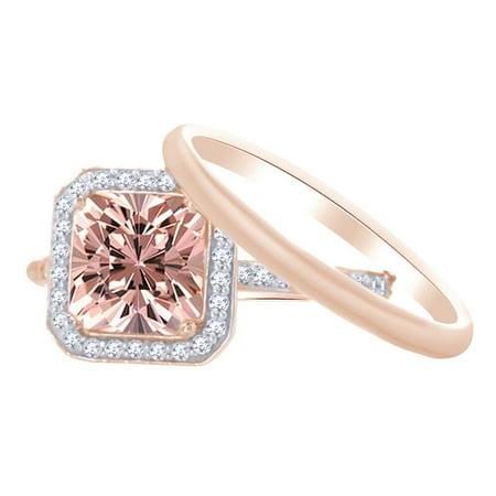 1.5 Ct Princess Cut (1.5 Ct Princess Cut Simulated Morganite & White Natural Diamond Halo Bridal Set with and Diamond on 10k Rose Gold Ring Size -)