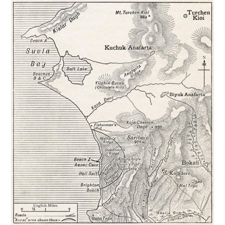 Map Showing Approximately The Semicircular Foothold Of Australians And New Zealanders Above Anzac Cove July 1915 From The Great World War A History Volume Iii Published 1916
