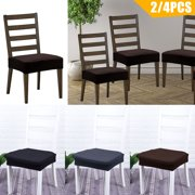 4/2Pcs Stretch Jacquard Dining Room Chair Seat Covers, EEEKit Removable Washable Anti-Dust  Upholstered Chair Seat, Elastic Furniture Protectors Cushion Slipcovers, for Home Kitchen Office Hotel Party