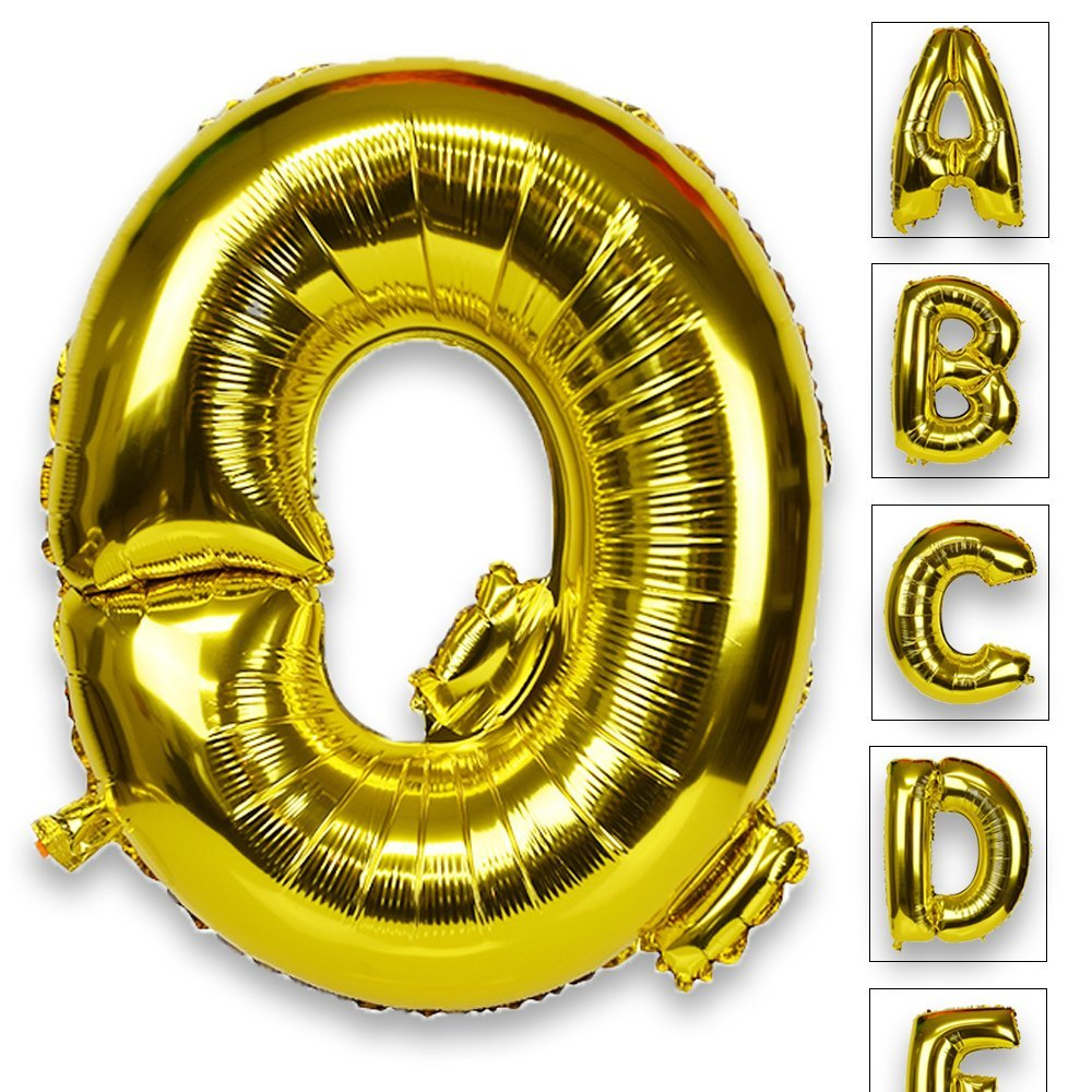 Just Artifacts Glossy Gold (30-inch) Decorative Floating Foil Mylar Balloons - Letter: Q - Letter and Number Balloons for any Name or Number Combination!