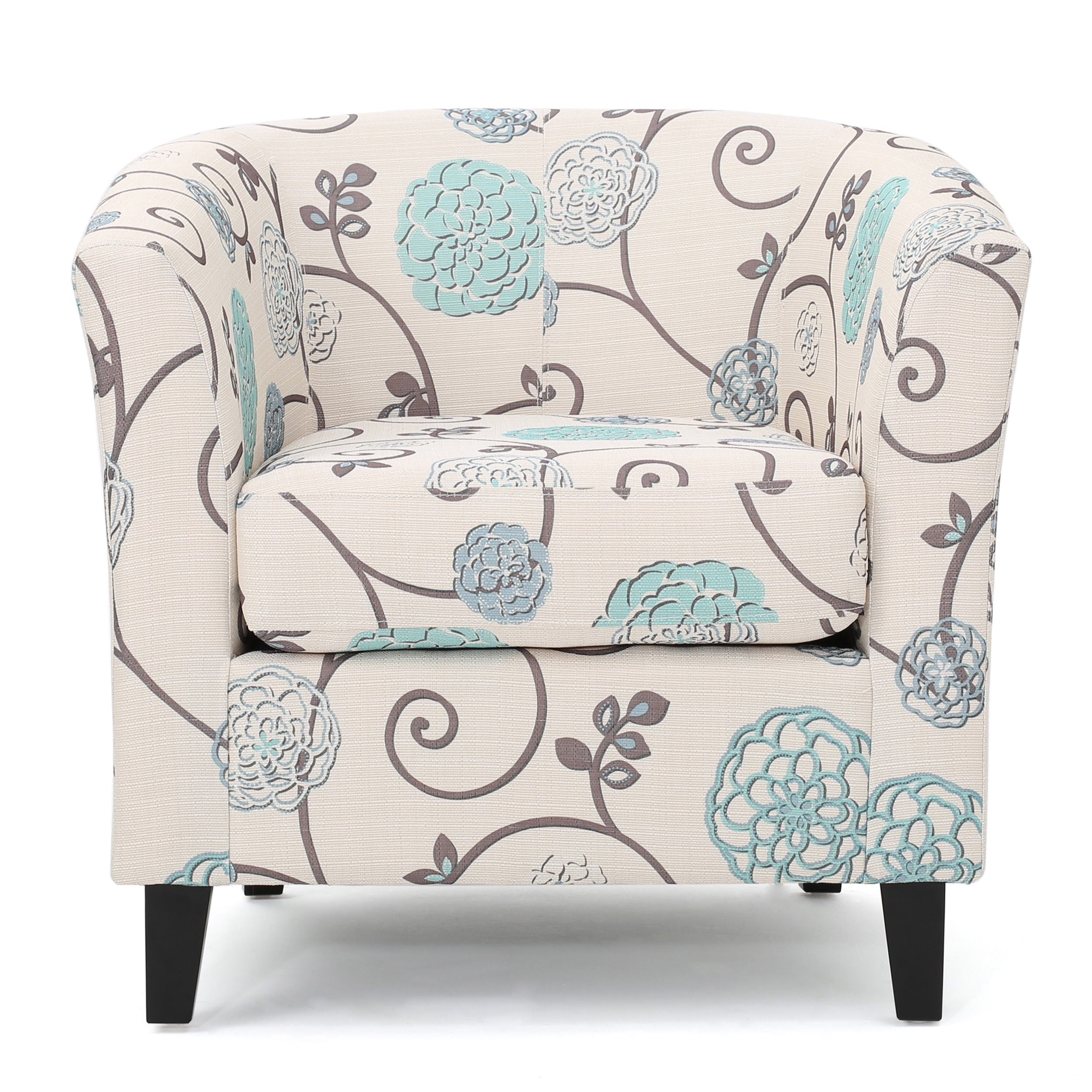 Palisades Club Chair, White and Blue Fabric by GDF Studio