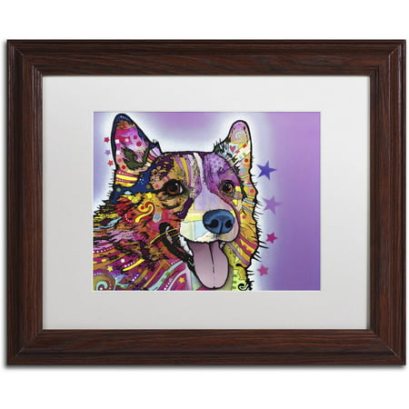 "Trademark Fine Art ""Corgi"" Canvas Art by Dean Russo, White Matte, Wood Frame"