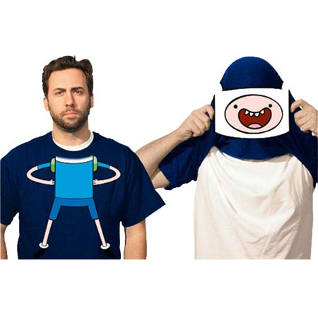 Adventure Time With Finn And Jake Reversible Mask Costume Adult T-Shirt (Jake And Finn Costumes)