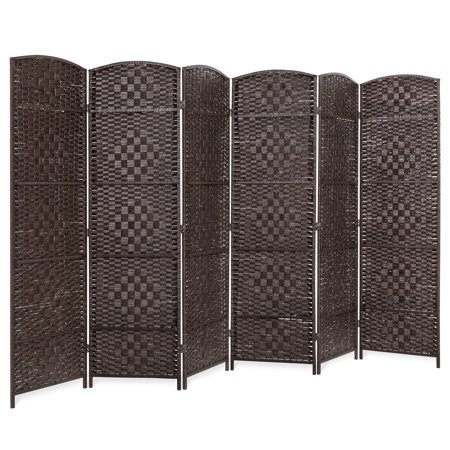 Best Choice Products 70x118in 6-Panel Diamond Weave Wooden Folding Freestanding Room Divider Privacy Screen Accent for Living Room, Bedroom, Apartment w/ Two-Way Hinges - Dark