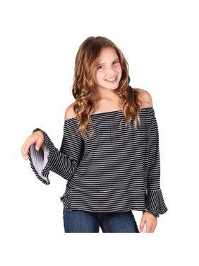 f57477d30d5 Product Image Lori & Jane Girls Black White Stripe Long Sleeves Off  shoulder Top