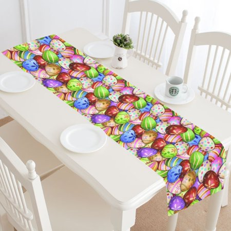 MYPOP Unique Colorful Easter Eggs Table Runner Placemat 16x72 inches, Spring Egg Table Cloth for Office Kitchen Dining Wedding Party Home Decor](Spring Table Runners)