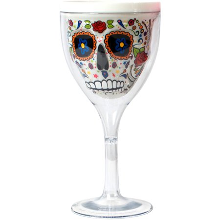 10 oz White Sugar Skull Wine Glass by