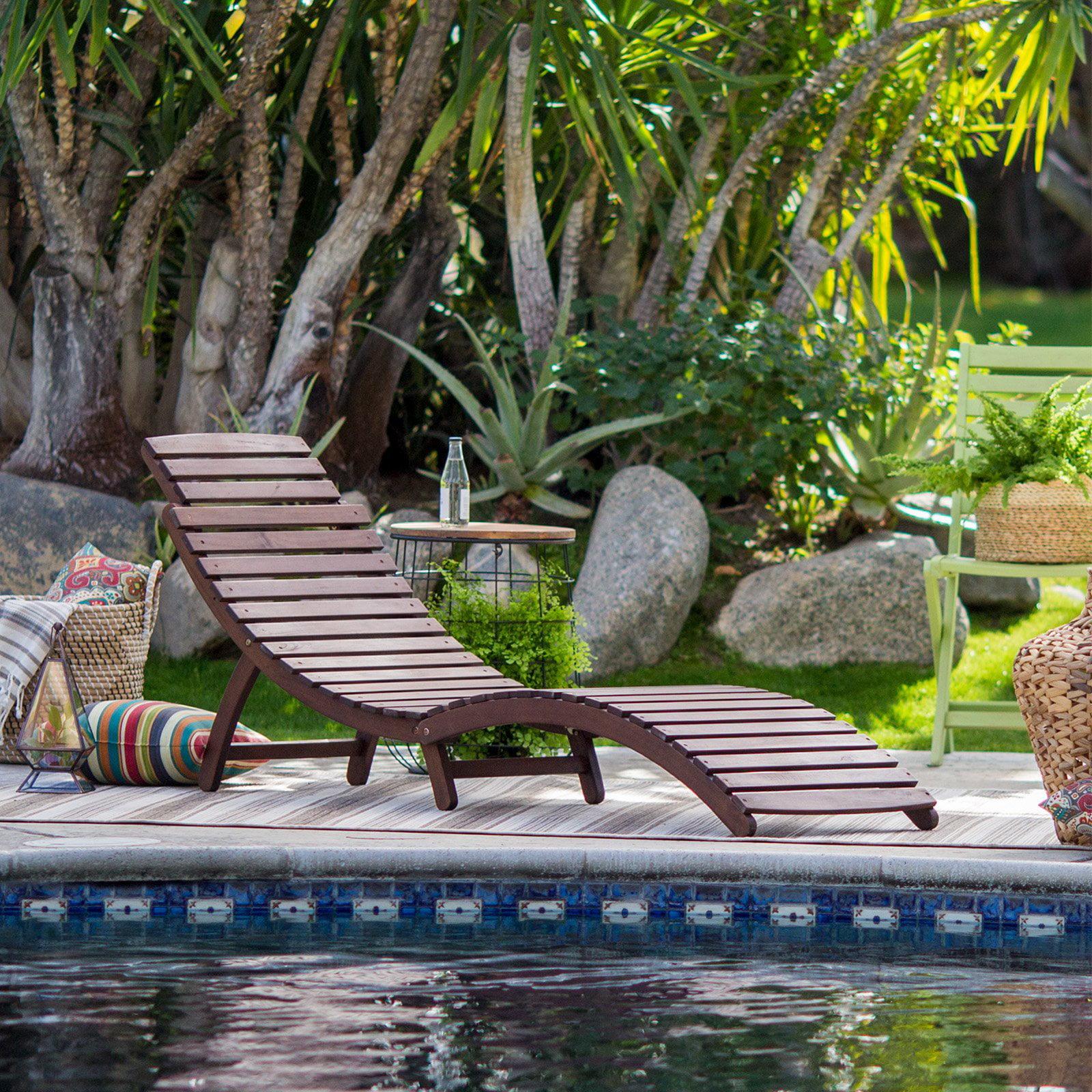 Coral Coast Rema Wave Wood Patio Chaise Lounge - Dark Brown