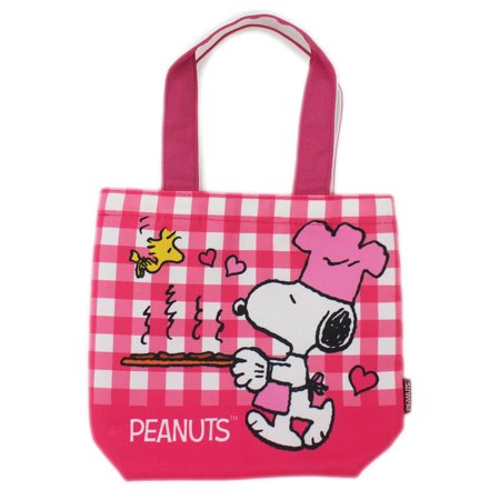 Snoopy the Chef Pink and White Flannel Pattern Canvas Material Mini Tote Bag