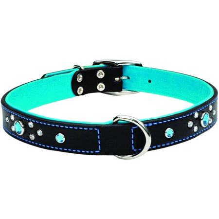 Circle T 1  Fashion Leather Dog Collar With Jewels Black With Blue Jewels  Neck Size 22