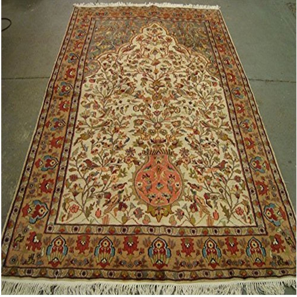 Rare Tree of Life Birds Floral Rectangle Area Rug Wool Silk Hand Knotted Carpet (8.6 x 5.10)'