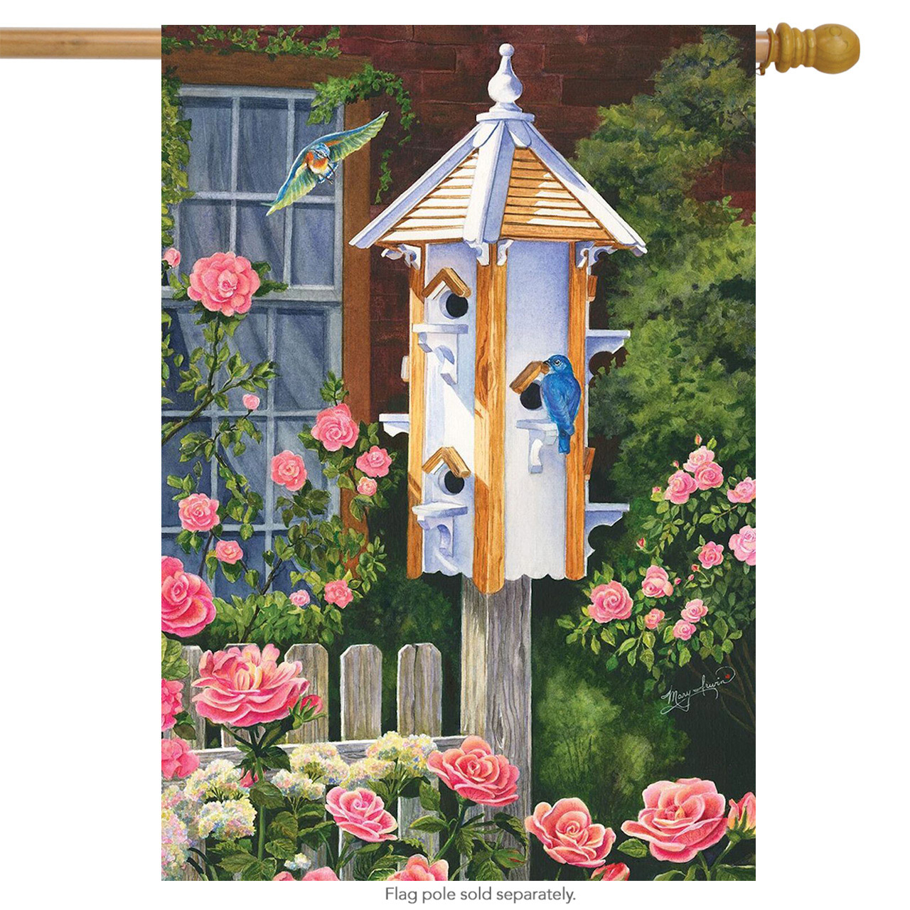 "Home Tweet Home Spring House Flag Bluebird Floral Birdhouse 28"" x 40"""