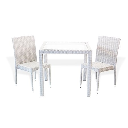 Patio Resin Outdoor Wicker Dining Set Square Table w/Glass and 2 Side Chairs, Gray ()