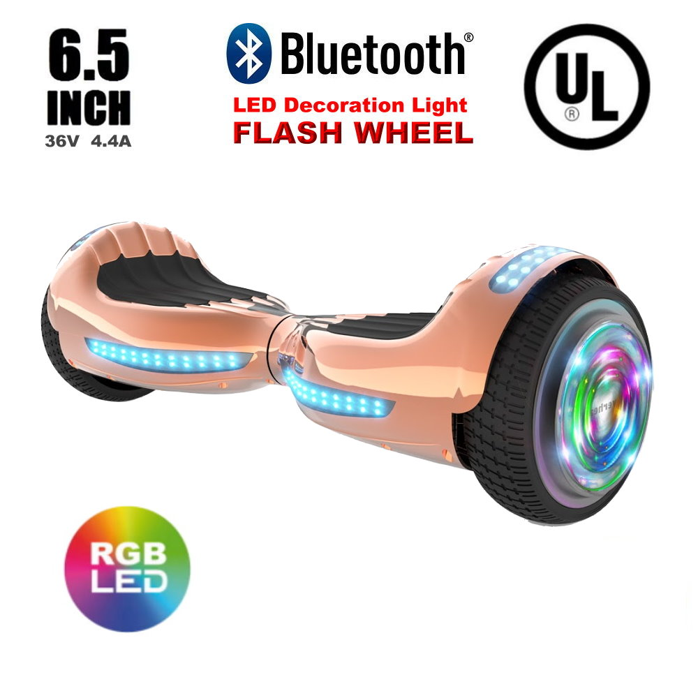 "Hoverboard Two-Wheel Self Balancing Electric Scooter 6.5"" UL 2272 Certified with Bluetooth Speaker and LED Light (Chrome Rosegold)"