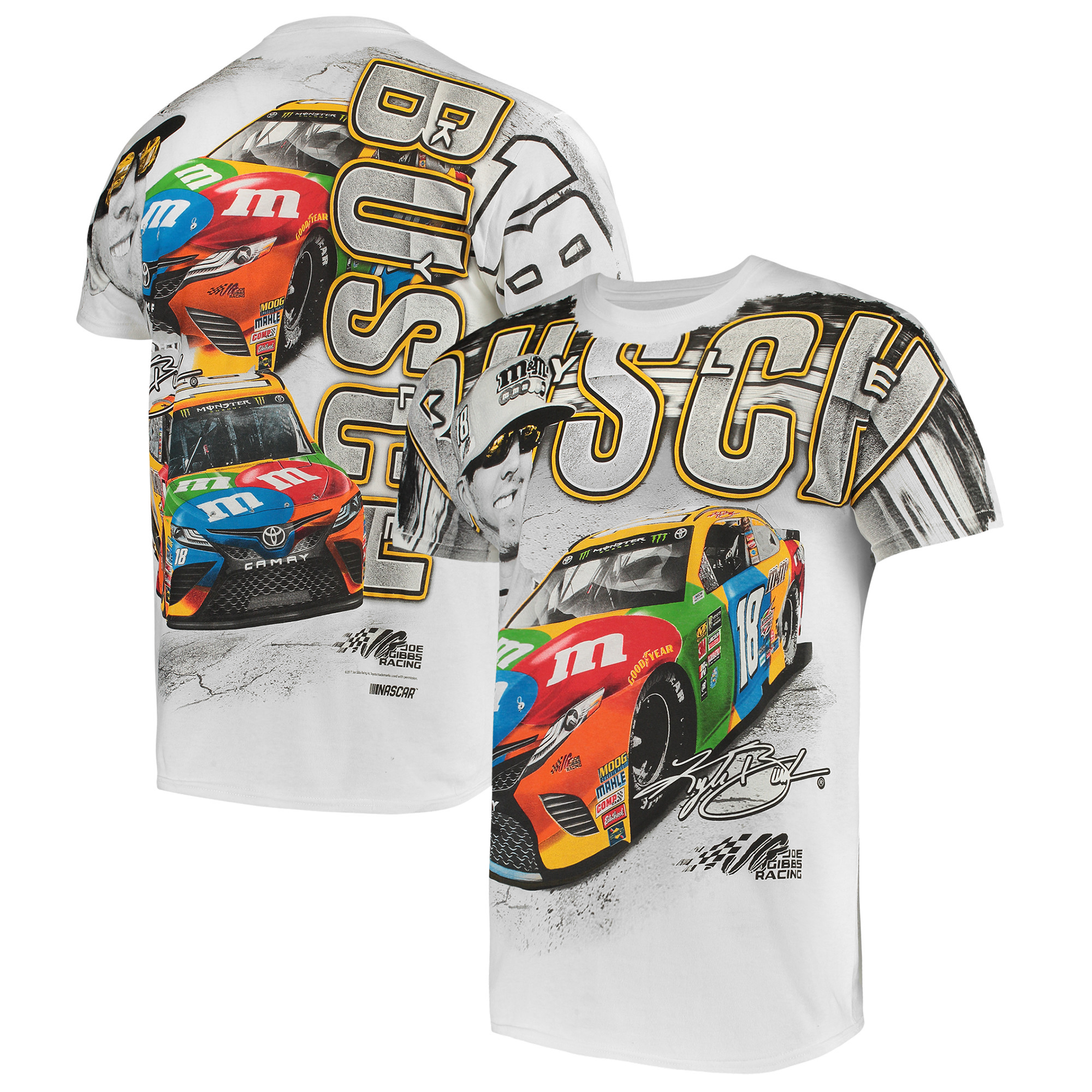 Kyle Busch Joe Gibbs Racing Team Collection M&M's Total Print T-Shirt - White