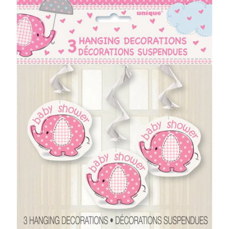 (4 Pack) Elephant Baby Shower Hanging Decorations, 26 in, Pink, 3ct - Pink Hanging Decorations