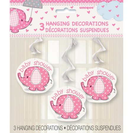 (2 pack) Pink Elephant Baby Shower Hanging Decorations, 26in, 3ct