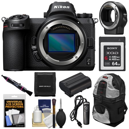 Nikon Z6 Mirrorless Digital Camera Body with Mount Adapter FTZ + 64GB Card + Backpack + Battery +