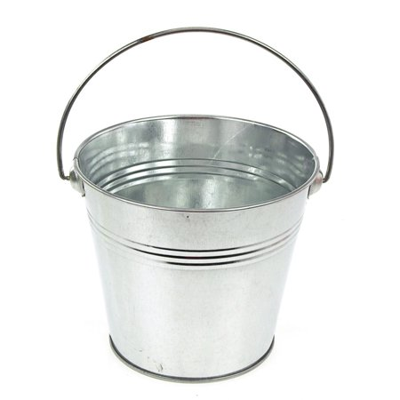 Metal Pail Buckets Party Favor, 5-inch, Silver - Colored Metal Buckets