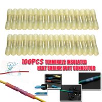 100x Insulation Yellow Heat Shrink Butt Electrical Terminal Connector 12-10 AWG