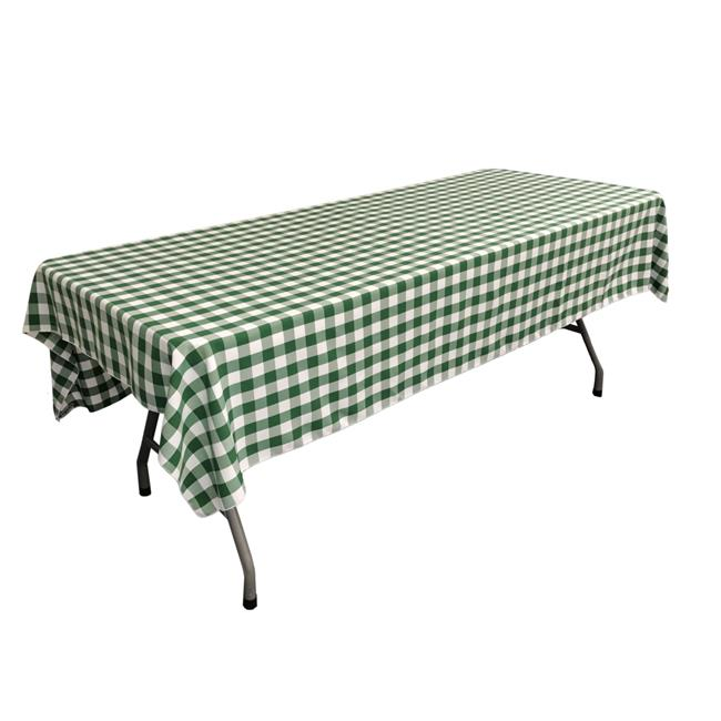 TCcheck60x90-HunterGreenK20 Polyester Gingham Checkered Rectangular Tablecloth, White & Hunter Green - 60 x 90 in.