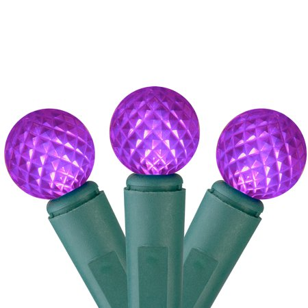 """Set of 50 Purple LED G12 Berry Christmas Lights 4"""" Bulb Spacing - Green Wire G12 Light Set Green Wire"""