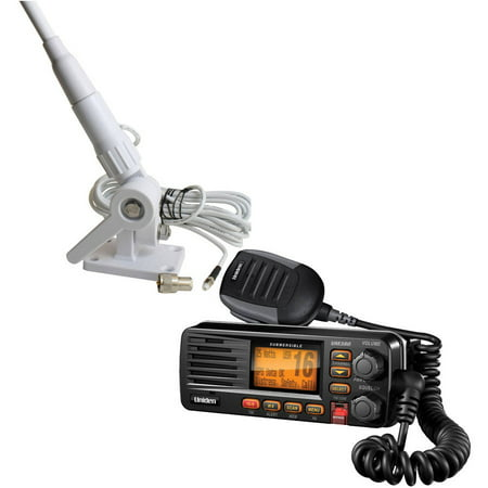- Uniden UM380BK Fixed Mount VHF/2-Way Marine Radio and Tram 1607-HC 46