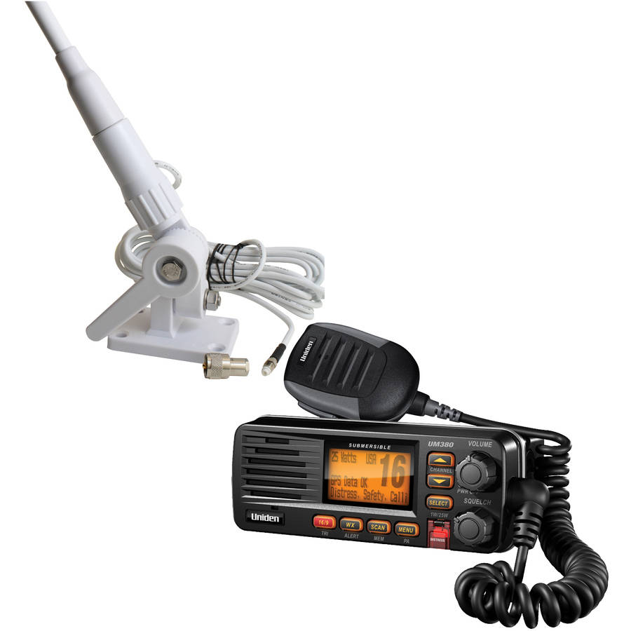 "Uniden UM380BK Fixed Mount VHF/2-Way Marine Radio and Tram 1607-HC 46"" VHF Marine Antenna, Black"
