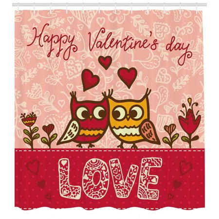 Valentines Day Shower Curtain, Owls in Love Print Cute Partners Couples Boho Style Hearts Flowers Dots, Fabric Bathroom Set with Hooks, Pink Red Yellow, by Ambesonne](Cute Shower Curtain)